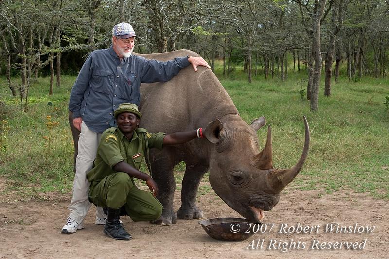 Bob and Morani at Sweetwaters, Kenya.  Morani is a black rhinoceros.