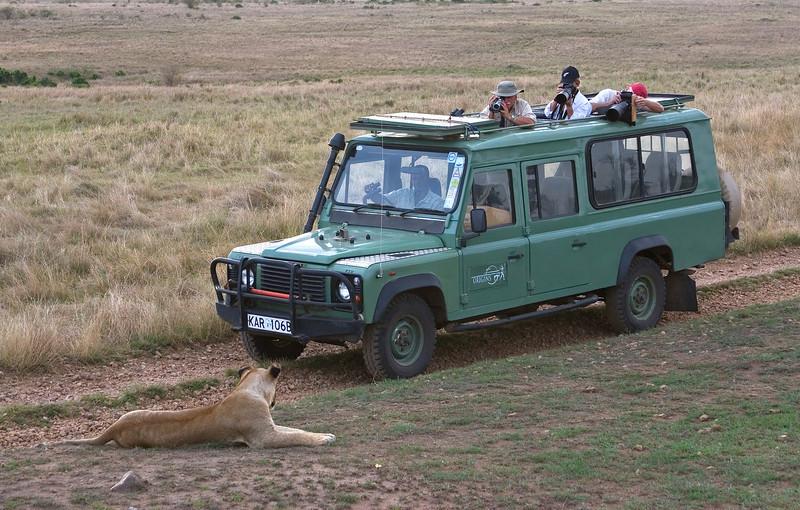 Wayne, Mary and Bill Photographing Lion, Masai Mara