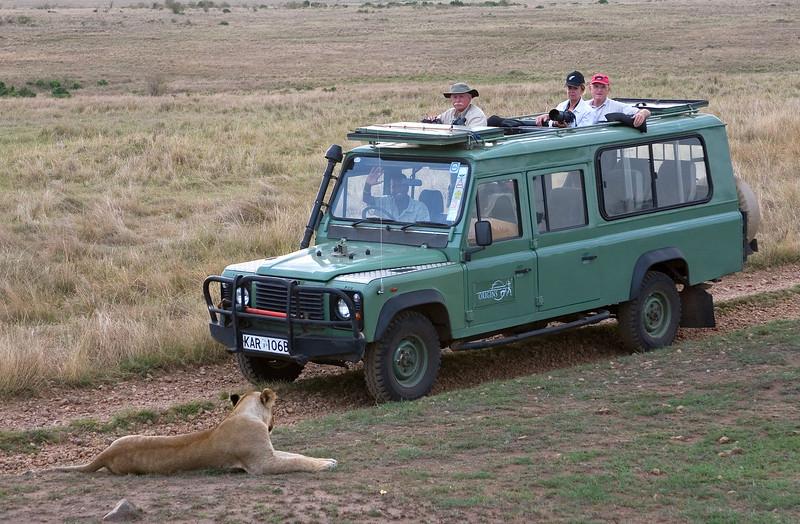 Wayne, Mary and Bill with Lion, Masai Mara