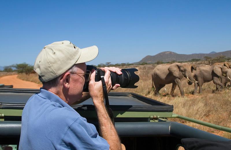 Bill Photographing Elephants, Samburu