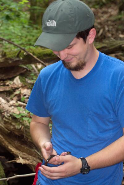Josh with jumbo black-bellied salamander