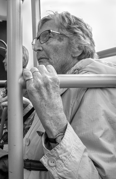 Woman on Bus - North Yorkshire UK 2017
