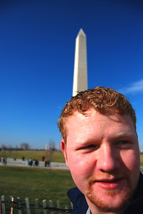 A nice wide-angle shot of Chance at the Washington Monument.