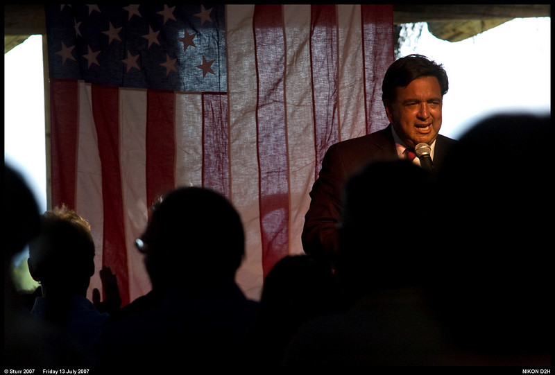 Governor Bill Richardson of New Mexico speaks at a Salt Lake City, Utah Fundraiser, for his Presidential political campaign at This is the Place State Park, July 2007.