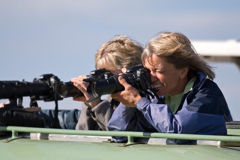 Barb and MaryAnne Photographing, Masai Mara, Kenya, Africa