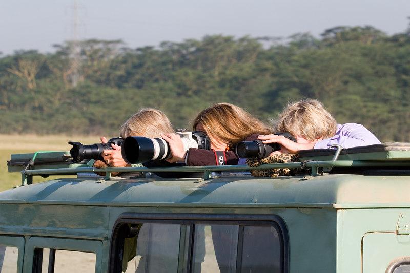 MaryAnne, Linda, Barb at Lake Nakuru National Park, Kenya, Africa