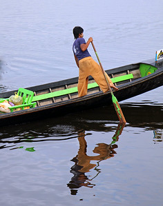 Oarsman on Inle Lake