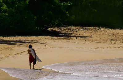 Surfer walking on the beach, carrying his board at Sunset Beach, North Shore, Oahu, Hawaii