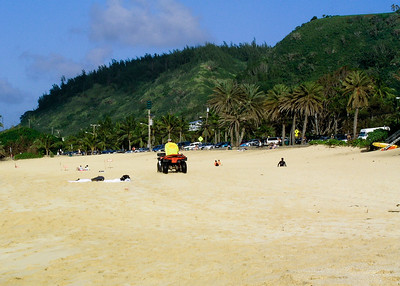 Lifeguard keeping an eye out  Sunset Beach, North Shore of O'ahu, Hawai'i