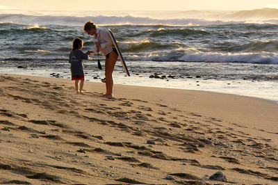 Mom and child at Sunset