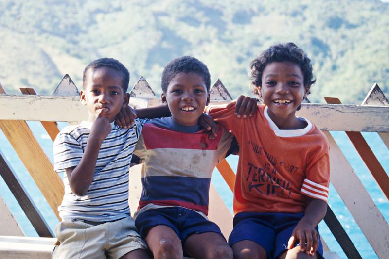 Island boys on Guanaja, Bay Islands, Honduras