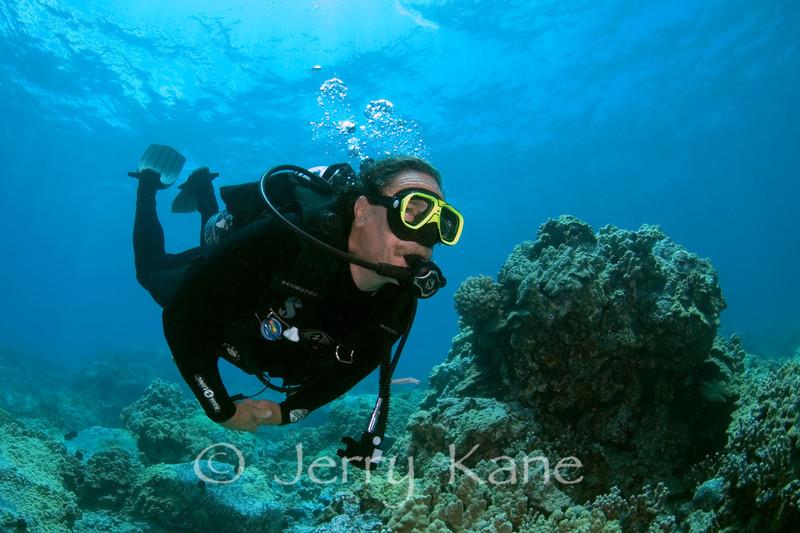 Diver Dave Fremo outside Honokohau Harbor, Big Island, Hawaii
