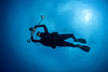 Photographer Jerry Kane in mid-water off Kona, Big Island, Hawaii (photo by Dave Kearnes)