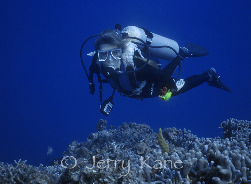 Lori Kane above the reef at Honaunau, Big Island, Hawaii