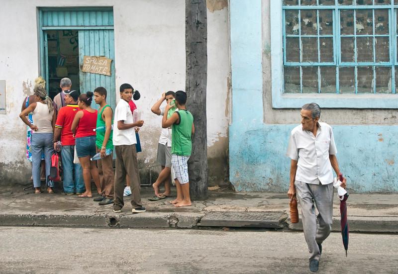 Typical street scene at Santiago De Cuba.