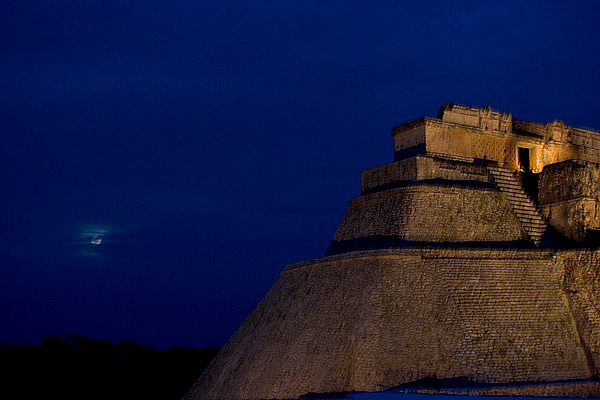 A full moon over the Mayan ruins at Uxmal, Yucatan, Mexico
