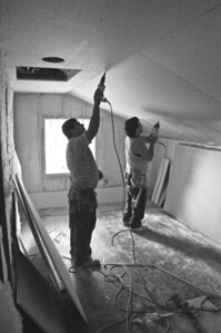 Farm house - remodeling - the old - dry walling the upstairs - 1