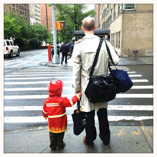 Escorting Dad to work