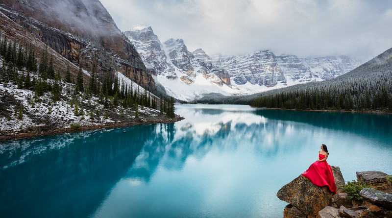 Red Dress at Moraine Lake