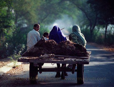 A family on the road to Agra in India.