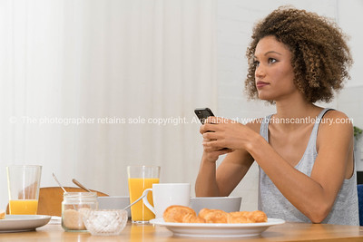 One woman with mobile phone