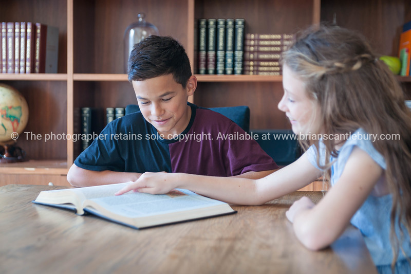 Boy and girl sharing an interest in book