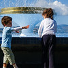 Two children at Memorial Park Fountain, Tauranga