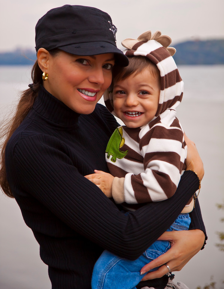 Mommy and baby by the Hudson River on a crisp Fall day, Englewood Cliffs, NJ