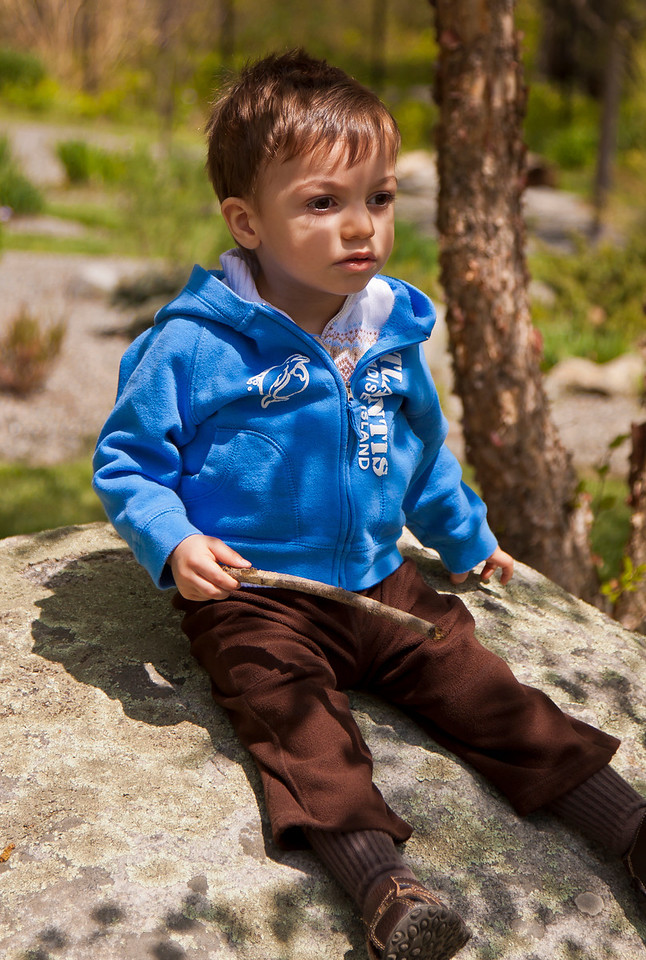 Julian hangs out on a rock, NJ Botanical Gardens