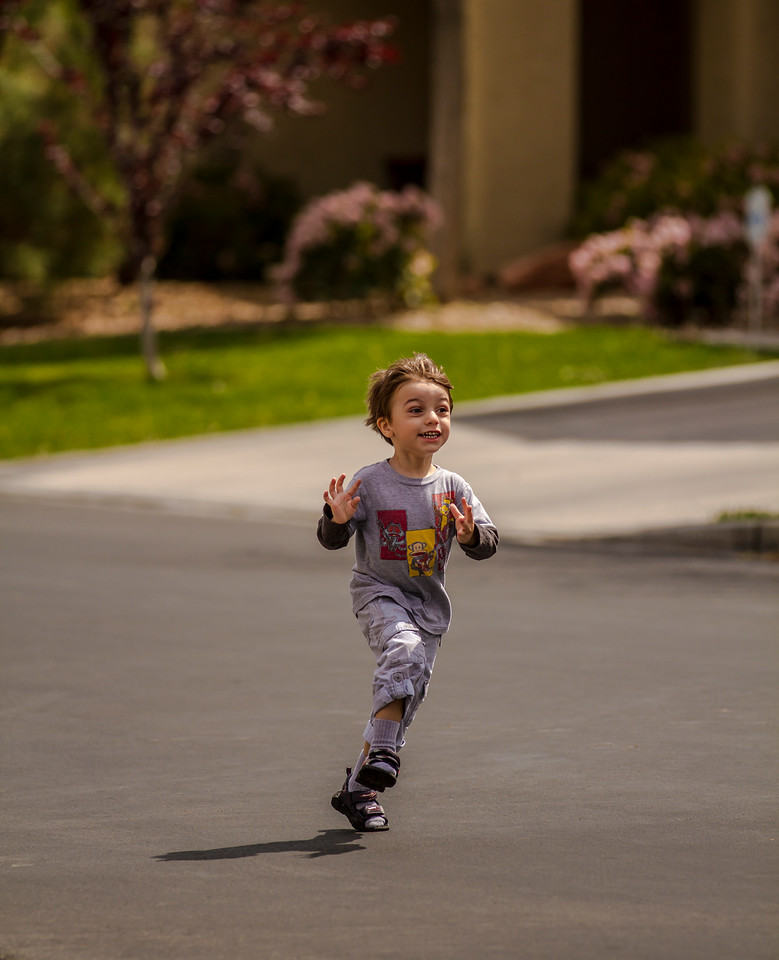 The little boy just runs and runs everywhere...where do they get all that energy.  Las Vegas, NV