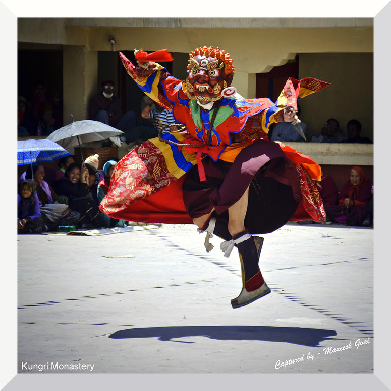 Leap of faith! (Lama during Cham dance performance)