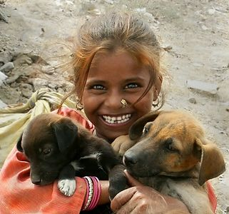 Young Girl and prized puppies of a Gypsy Encampment outside of Ferozpur, Punjab. North India.