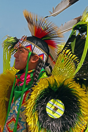 Dancer in Yellow Feathers ~ One of the pow wow dancers at the Morongo Pow Wow this last weekend.