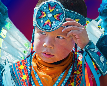 Quiet Moment ~ This young dancer paused before going in to dance with all the other dancers at the pow wow, San Bernardino, CA.