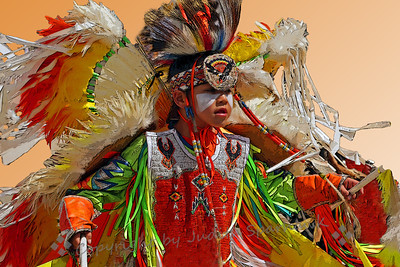 Dancer in Action ~ A cropped version of the dancing boy at the pow wow.
