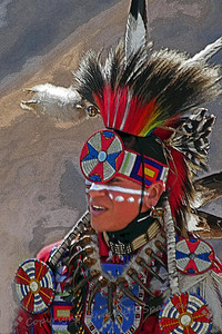 Red White & Blue ~ This dancer was photographed at the Morongo Thunder & Lightning Pow Wow held this weekend.