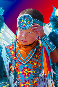 Waiting to Dance ~ This young dancer paused, while waiting for his group of dancers to enter the dance circle at the San Manuel Band of Indians' recent pow wow in San Bernardino, CA.