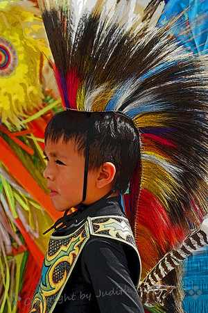 The Little Warrior ~ This cute little boy was dressed traditional regalia, waiting for the dances to begin.  He was photographed at the Thunder & Lightning Pow Wow at Morongo this weekend.
