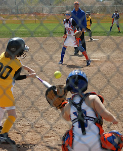Going for an inside pitch, Catcher's glove right there