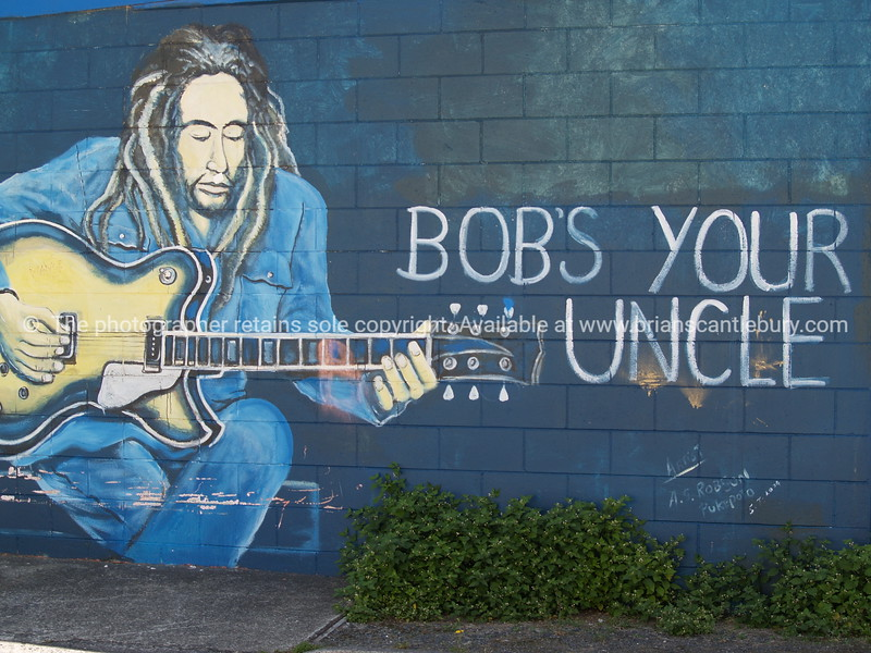 Yes, Bob's your uncle Bob Marley featuring in Wall art from Tokoroa New Zealand. Model Release; No. Editorial or personal use only.