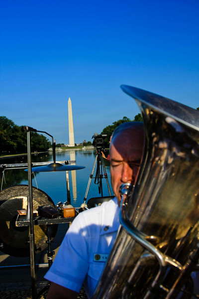 Tuba player and The Washington Monument.