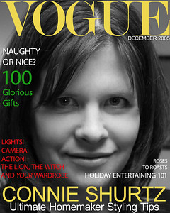 Darcie's sister Connie Shurtz.  Cly mocked-up the Vogue cover.