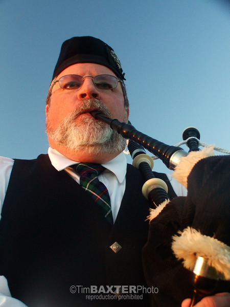 Gary Ashby playing the bagpipes