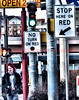 """RED"" on Nevada Avenue, Colorado Springs, Colorado, USA, with a green light."