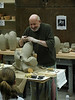Paul Soldner doing workshop at Cuesta College, creating one of his world-famous freeform sculptures.