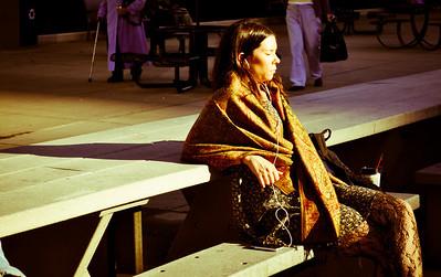 Woman relaxing in the sun in Millenium Park