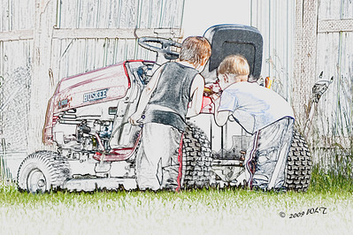 Two Boys Checking Out The Machinery