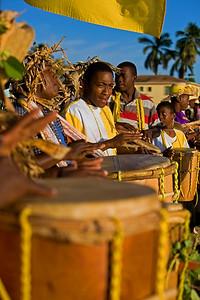 Highschool students performing Yurumei the morning of November 18th, 2009 in Dangriga, Stann Creek, Belize.