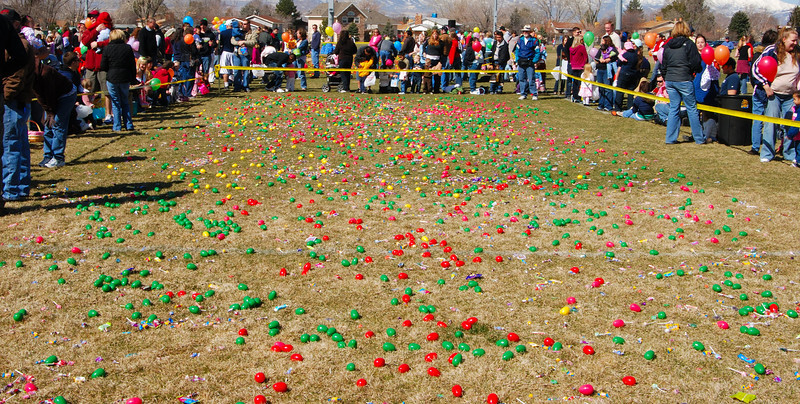 Getting ready for the Easter Egg hunt at Lone Peak Park, Sandy Utah, 2008. Or was that the Easter Egg dash?