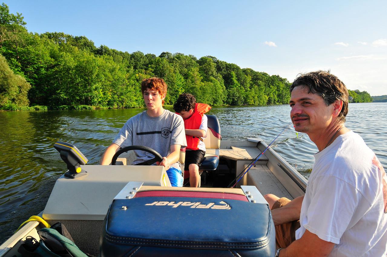 Tony (right), Tristen (rear) and Joey (left) Di Palo, Lake Nockamixon, August 2009